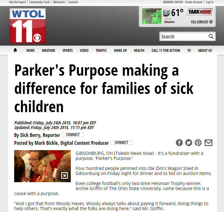 Parker's Purpose making a difference for families of sick children